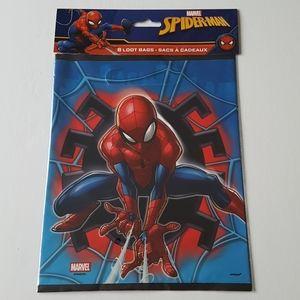 """8 Marvel Spiderman Loot Bags 7.25""""x9"""" in"""